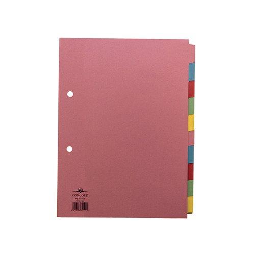 Concord Divider 10-Part A5 160gsm Pastel Colours 72199