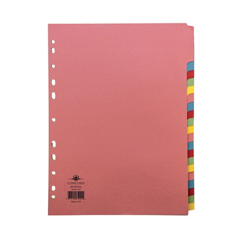 Concord Divider 20-Part A4 160gsm Multicoloured 74099/J40