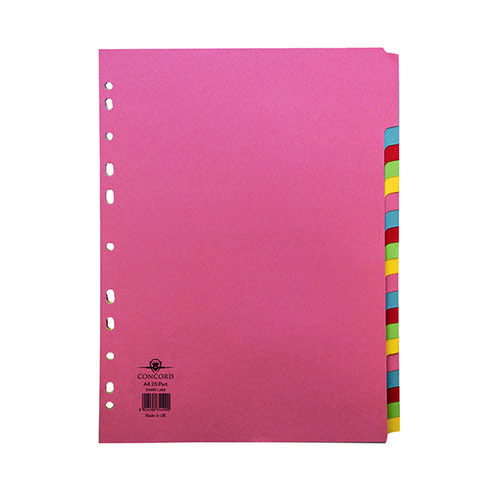 Concord Divider 20-Part A4 160gsm Multicoloured 74499/J44