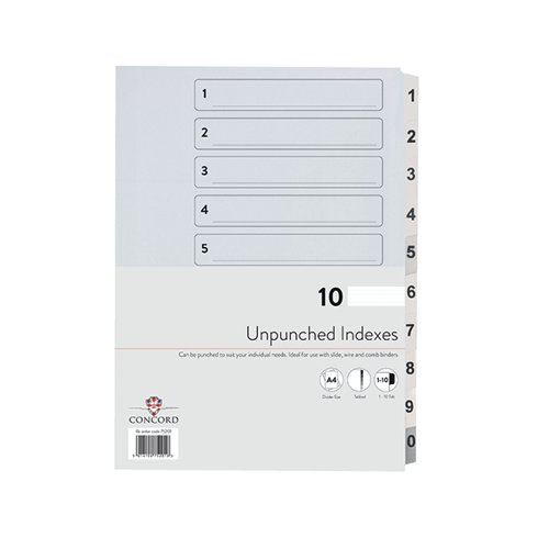 Concord Unpunched Index 1-10 A4 160gsm White (Pack of 10) 75201