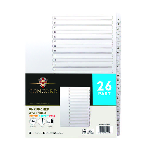Concord Unpunched Index A-Z 26 Part A4 150gsm White (Pack of 5) 75601