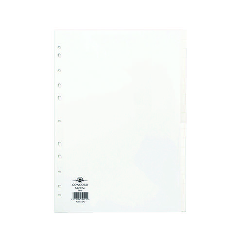 Concord Divider 20-Part A4 150gsm White 79601
