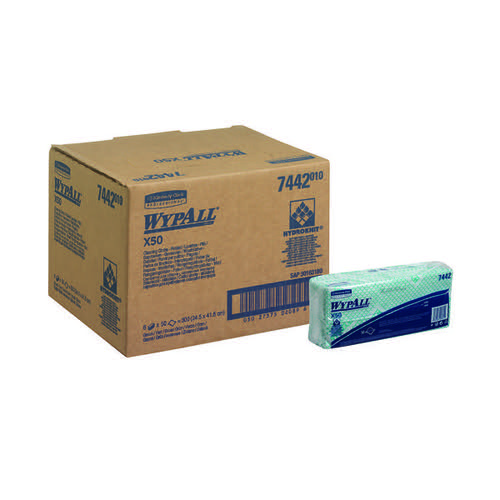 Wypall X50 Cleaning Cloths Green (Pack of 50) 7442