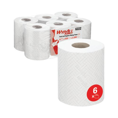 WypAll L10 Food Hygiene Centrefeed Paper Rolls 1-Ply 6 Rolls/430 Wipes White (Pack of 2580) 6222