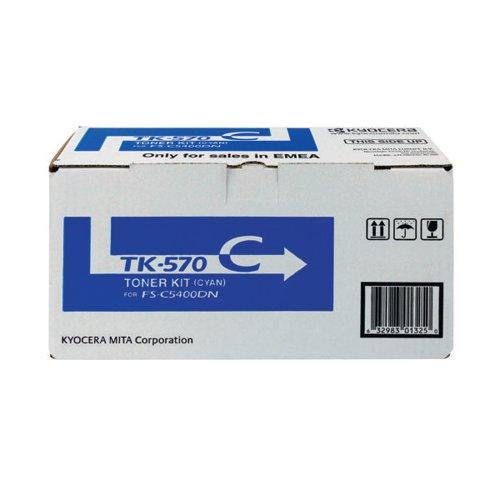 Kyocera Cyan TK-570C Toner Cartridge (12,000 Page Capacity)