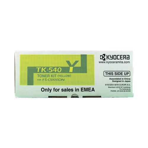 Kyocera TK-540Y Yellow Toner Cartridge (4000 page capacity) 1T02HLAEU0
