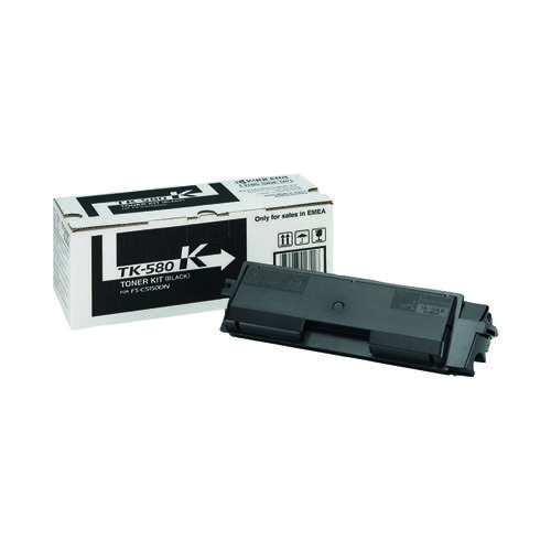 Kyocera TK-580K Black Toner Cartridge (Capacity: 3,500 pages) 1T02KT0NL0