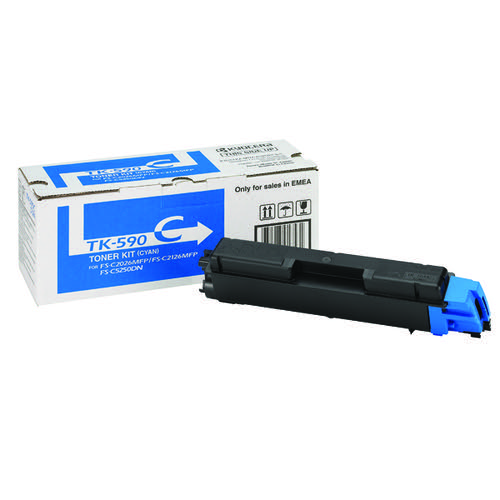Kyocera Cyan TK-590C Toner Cartridge (5000 Page Capacity)