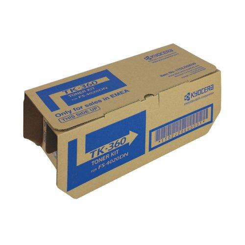 Kyocera TK-360 Black Toner Cartridge (20,000 Page Capacity)