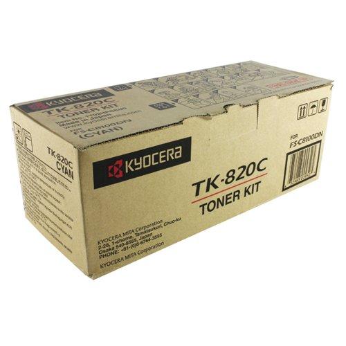 Kyocera Cyan TK-820C Toner Cartridge (7000 Page Capacity)