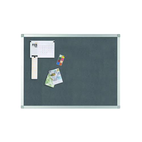 Q-Connect Aluminium Frame Felt Noticeboard 900x600mm Grey 9700025