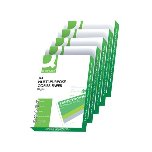 Q-Connect A4 Plain Paper White 80gsm Multi-Purpose Printer/Copier (Pack 2500) KF01087