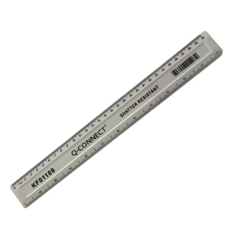 Q-Connect Ruler Shatterproof 300mm White (Features inches on one side and cm/mm on the other)KF01109
