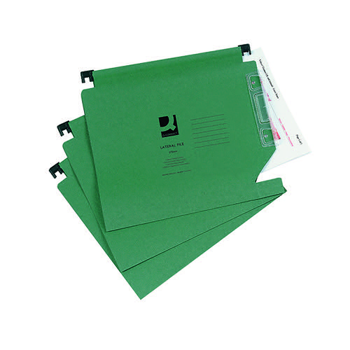 Q-Connect 15mm Lateral File Manilla 150 Sheet Green (Pack of 25) KF01184