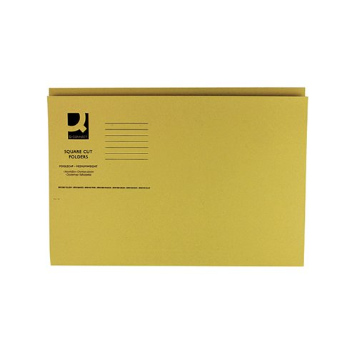 Q-Connect Square Cut Folder Mediumweight 250gsm Foolscap Yellow (Pack of 100) KF01185