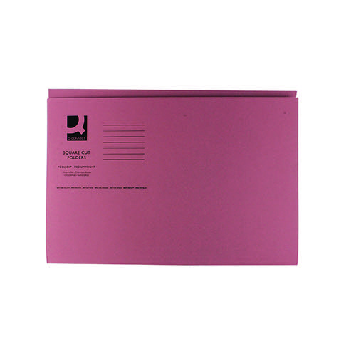 Q-Connect Square Cut Folder Mediumweight 250gsm Foolscap Pink (Pack of 100) KF01187