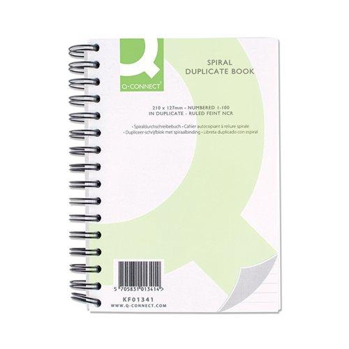 Q-Connect Feint Ruled Wirebound Duplicate Book 210x127mm KF01341