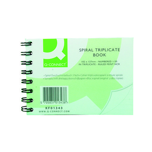 Q-Connect Feint Ruled Wirebound Triplicate Book 102x127mm KF01343