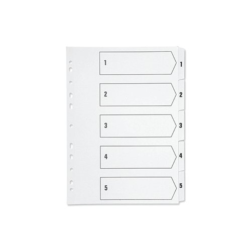 Q-Connect 1-5 Index Multi-punched Polypropylene White A4 KF01352