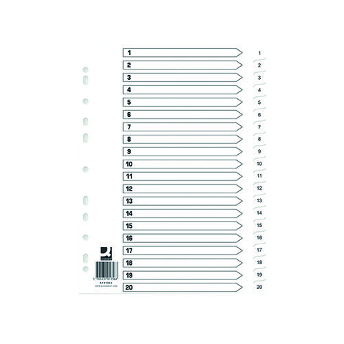 Q-Connect Index 1-20 Polypropylene White (Pack of 10) KF01356Q