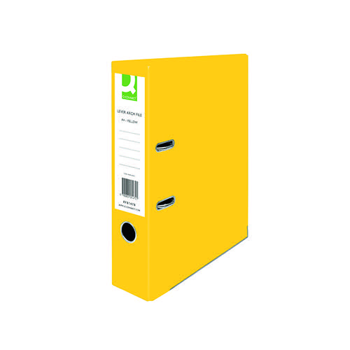 Q-Connect Lever Arch File Paperbacked A4 Yellow (Pack of 10) KF01470