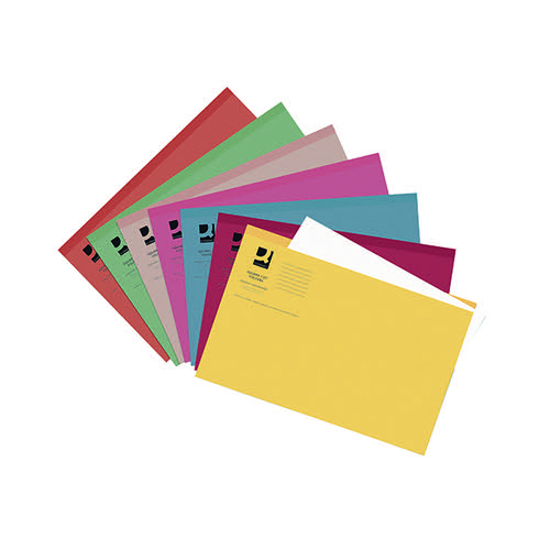 Q-Connect Square Cut Folder Lightweight 180gsm Foolscap Assorted (Pack of 100) KF01491