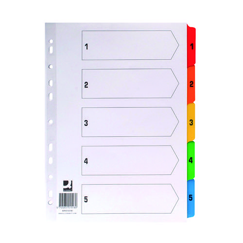 Q-Connect 1-5 Index Multi-punched Reinforced Board Multi-Colour Numbered Tabs A4 White KF01518