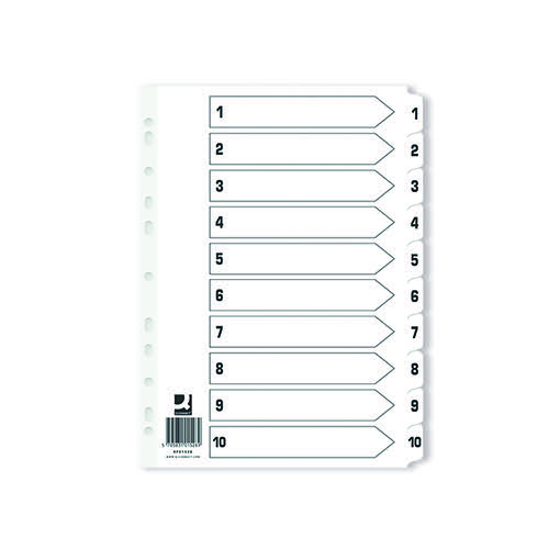 Q-Connect Index 1-10 Board Reinforced White (Pack of 25) KF01528Q