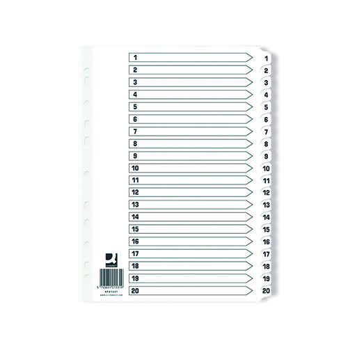 Q-Connect Index 1-20 Board Reinforced White (Pack of 10) KF01531Q