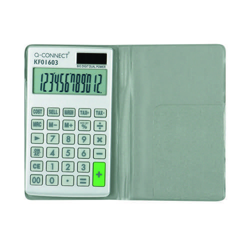 Q-Connect Silver Large 12-Digit Pocket Calculator KF01603