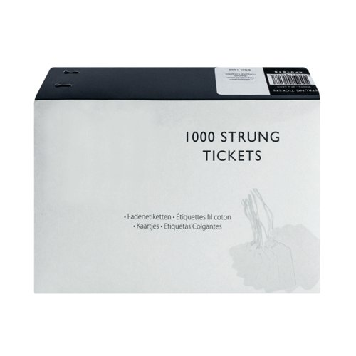 37x24mm White Strung Ticket (Pack of 1000) KF01618