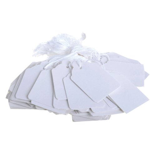 41x25mm White Strung Ticket (Pack of 1000) KF01619