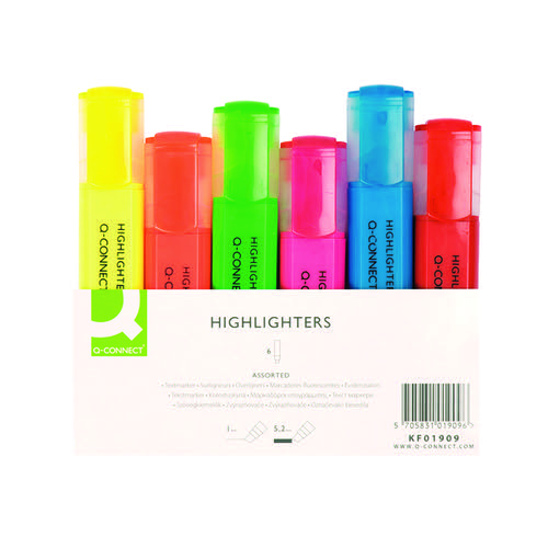 Q-Connect Assorted Highlighter Pens (Pack of 6) KF01909 KF01909