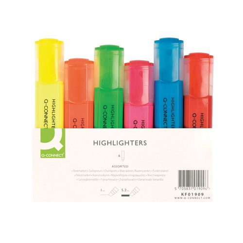 Q-Connect Highlighter Pens KF01909 Pack of 6 Assorted Colours