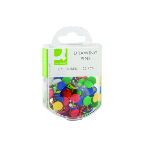 Q-Connect Drawing Pins Coloured (Pack of 1200) KF02020Q