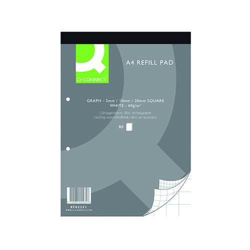 Q-Connect A4 Graph Refill Pad 80 Sheet (Pack of 10) KF02231 Refill Pads KF02231