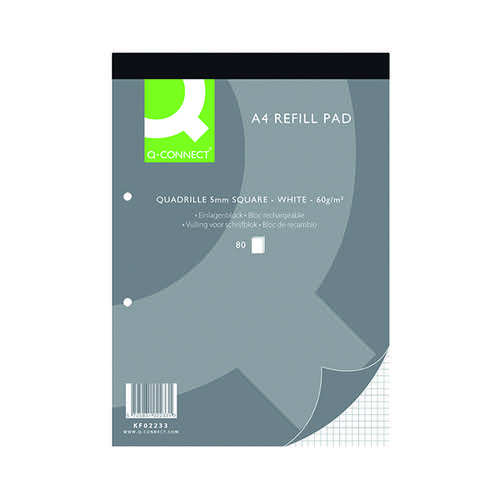 Q-Connect Quadrille Ruled Head Bound Refill Pad 160 Pages A4 (Pack of 10) KF02233