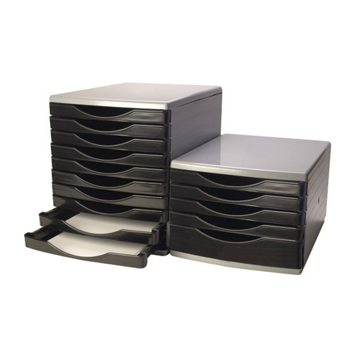 Q-Connect 5 Drawer Tower Black and Grey (Dimensions: L345 x W290 x H220mm) KF02253