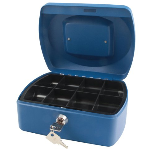 Q-Connect Cash Box 8 Inch Blue KF02623