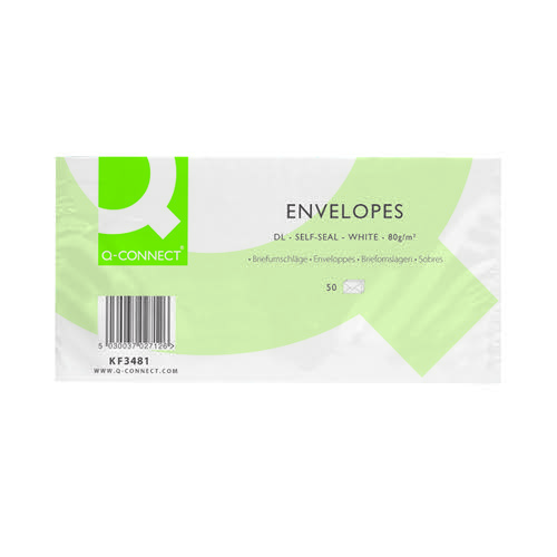 Q-Connect DL Envelopes Plain Wallet Self Seal 80gsm White (Pack of 20 x 50) KF02712