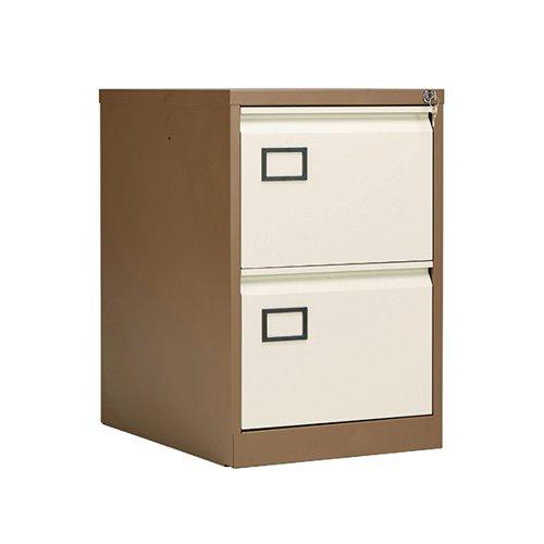 Jemini 2 Drawer Filing Cabinet Lockable 470x622x711mm Coffee/Cream KF03006