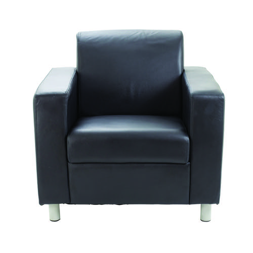 Avior Black Leather Faced Executive Reception Arm Chair KF03529