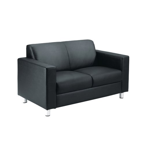 Avior Black Leather Faced Executive Reception Sofa KF03530