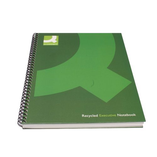 Q-Connect Recycled Wirebound Notebook A5 Green (Pack of 3) KF03732