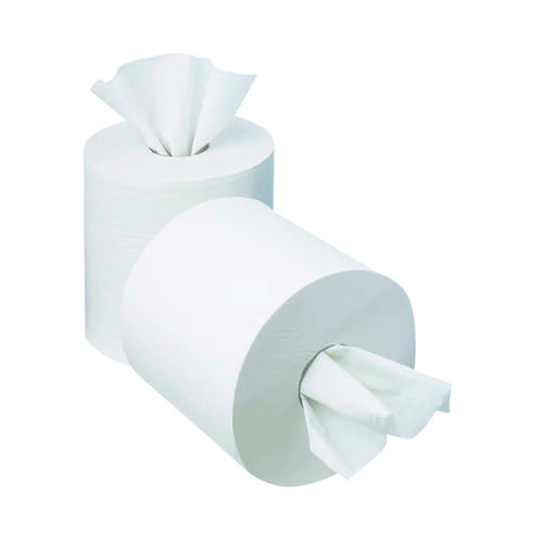 2Work 1-Ply Mini Centrefeed Roll 120m White (Pack of 12) KF03784