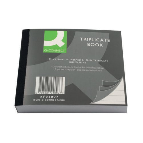 Q-Connect Feint Ruled Triplicate Book 102x127mm KF04097