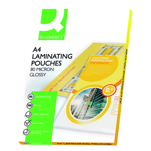 Q-Connect A4 Laminating Pouch 160 Micron (Pack of 100) KF04114
