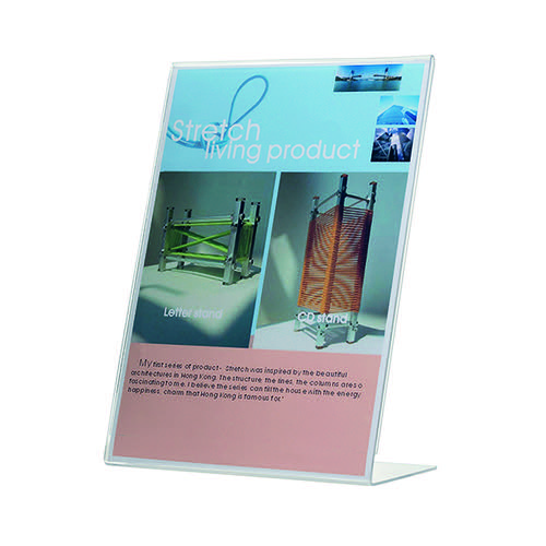 Q-Connect Slanted Sign Holder L-Shape A5 (Side loading, made from sturdy plastic) KF04178