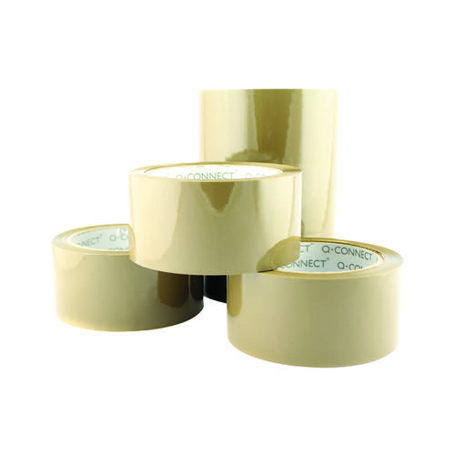 Q-Connect Low Noise Polypropylene Packaging Tape 50mm x 66m Brown (Pack of 6) KF04381
