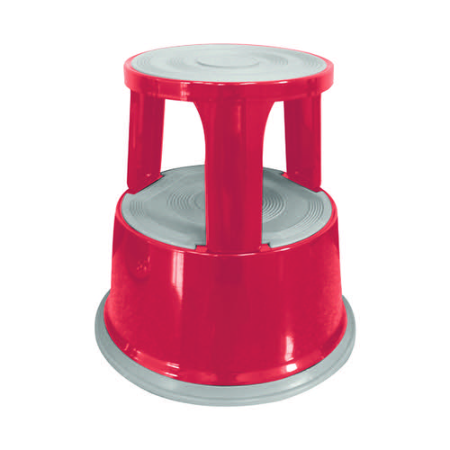 Q-Connect Red Metal Step Stool KF04843
